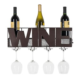 HG12507, Danya B. Decorative Wall Mount Metal Wine Bottle and Long Stem Glass Rack