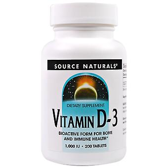 Fuente Naturales, Vitamina D-3, 1.000 UI, 200 Tabletas