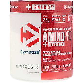 Dymatize Nutrition, AminoPro with Energy, Fruit Punch with Caffeine, 9.52 oz (27