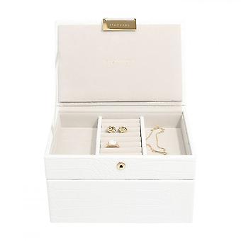 Stackers Chalk White Croc Mini Jewellery Box