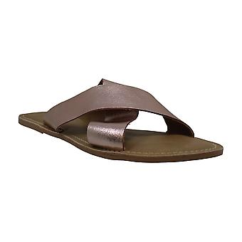 Coconuts Womens Pebble Leather Open Toe Casual Slide Sandals
