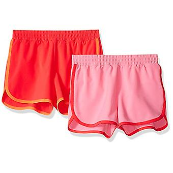 Essentials Big Girls' 2-Pack Active Running Short, Pink/Coral, Large