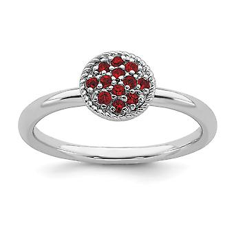 925 Sterling Silver Polished Prong set Stackable Expressions Garnet Rhodium Ring Jewelry Gifts for Women - Ring Size: 5