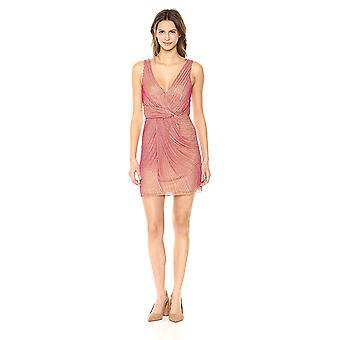 Parker Women's Black Morgan Sleeveless Full Beaded Mini Dress, Cherry red, 2