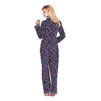 Mio Lounge Trudy Blue Multi Polka Dot Soft Kartáčovaná bavlněná pyžama Set ML16C5PJ