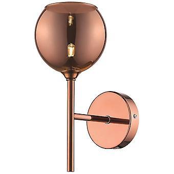 Éclairage de ressort - 1 cuivre léger de lumière de lumière avec l'ombre de verre, G9