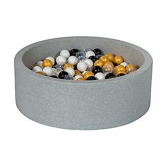 Poço de bola 90 cm com 300 bolas pretas, brancas, transparentes, laranja