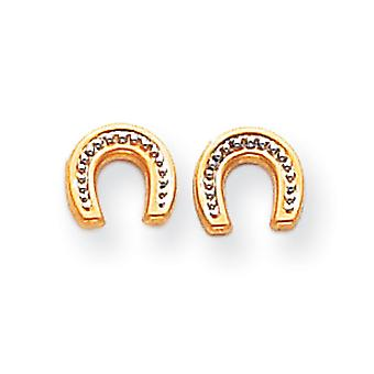 14k Yellow Gold Polished and Rhodium Horseshoe Post Earrings Measures 7x8mm Jewelry Gifts for Women