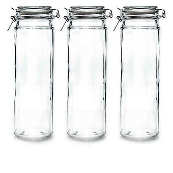 Argon Tableware Glass Spaghetti Jars with Airtight Clip Lid - 2 Litre Set - Clear Seal - Pack of 3