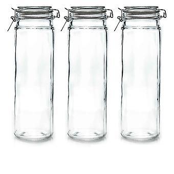 Argon Servies Glazen Spaghetti potten met luchtdichte clip deksel - 2 liter set - Clear Seal - Pack van 3