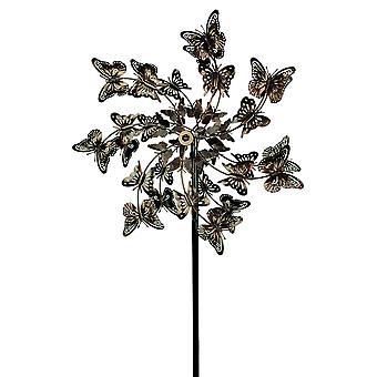 Aged Copper Finish Butterfly Garden Twirler Kinetic Wind Spinner Stake