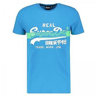 Superdry VL Cross Hatch Logo T-Shirt Electric Blue 89G