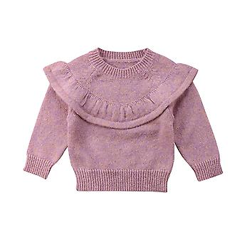 Automne Hiver Nouveau-né Baby Tops Ruffle Knitted Warm Sweater