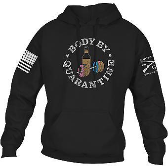 نخر نمط الجسم عن طريق الحجر الصحي pullover هوديي - أسود