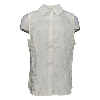 Joan Rivers Classics Collection Women's Top Slvlss Button Up White A303952