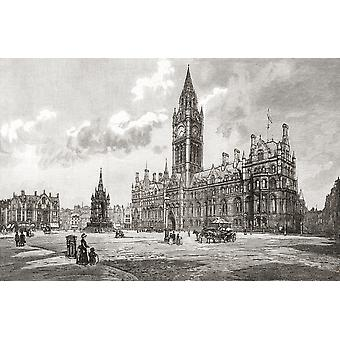 Town Hall Albert Square Manchester England in the 19th century From Cities of the World published c1893 PosterPrint