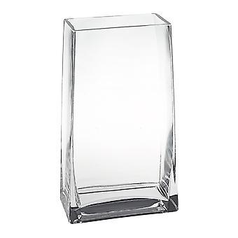 "9"" Clear Glass Rectangle Handmade Vase"