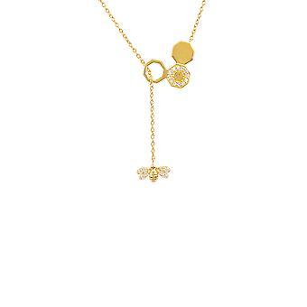 diamant honning bie kam anheng halskjede gull