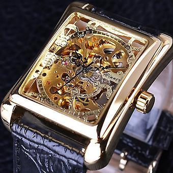 GMT983-1 Relógio Mecânico Auto-Vento Relógio Casual Estilo Retângulo Dial Aço Inoxidável