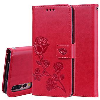 Rose Embossed Horizontal Flip PU Leather Case for Huawei P20 Pro, with Holder & Card Slots & Wallet (Red)