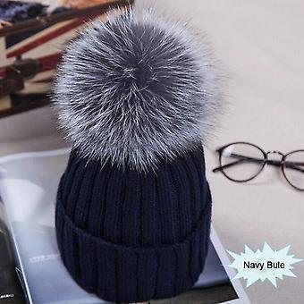 Fashion Large Ball Women Hat Winter Fox Fur Pom Pom Knit Beanie Ski Cap Bobble