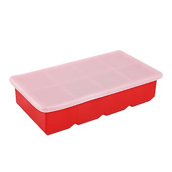 2PCS 21.2x11.5x5cm 2inch 8grid Square Silicone Ice Mold Red with Cover