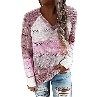 Dames's Knitted Sweater- V-hals Hoodies