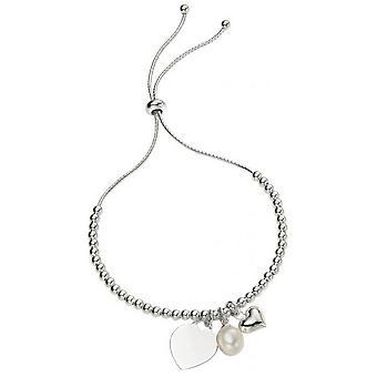 Anfänge Herz und Perle Charm Ball Armband - Silber