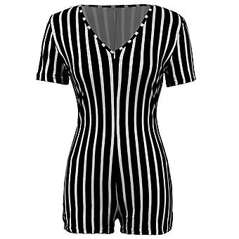 Mulheres Deep V-neck Bodycon Romper Sleepwear Short Sleeve Sexy Jumpsuit Sexy