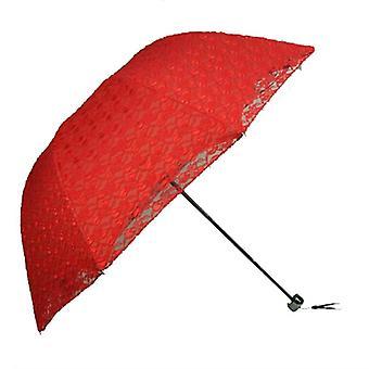 الصيف مظلة الدانتيل قابلة للطي، مقبض الصلب، التطريز القطني، الشمس المظلات