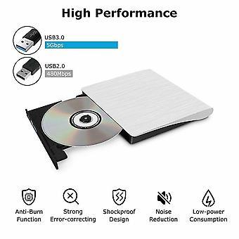 External Slim, Usb-3.0 Dvd Drive & Cd-rw Burner Player For Pc, Laptop