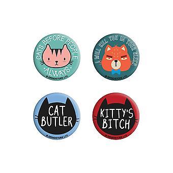 Grindstore Cats Before People Badge Set (4 kpl pakkaus)