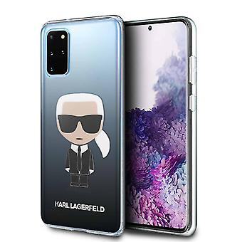 KARL LAGERFELD Iconic Boss Silicone Backcase Hoesje Samsung Galaxy S20 Plus - Zwart Transparant