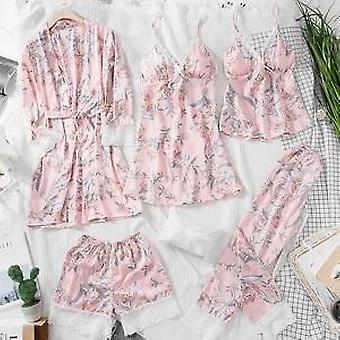 Vårblommtryck för kvinnor, sovkläder Klänning Set
