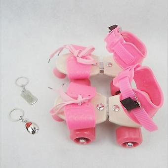 Adjustable Size Roller Skates, Double Row, 4 Wheels Skating Shoes, Sliding