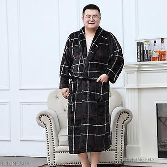 Men Plus Size Warm Flannel Bathrobe