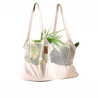 All-cotton Shopping Bag Ecobag Fruit Vegetable Shoulder Back Cotton Cloth Net Pocket Net Pocket