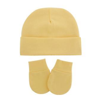 Unisex Baby Infants Anti Scratching Cotton Gloves Hat Set Newborn Mittens Warm