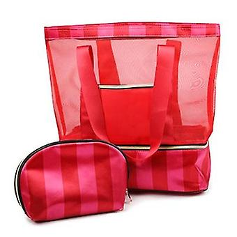 New Stripe Nylon Sport Gym Travel Duffel Bag With Shoe Compartment Layer