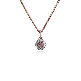 Floral Round Morganite & Diamond Halo Pendant Necklace in 9ct Yellow Gold 135P1649019