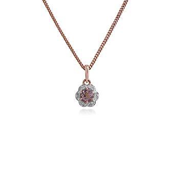 floral runde morganitt & diamant halo anheng halskjede i 9ct gult gull 135P1649019