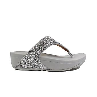 Fitflop Lulu Glitter Silver Womens Slip On Toe Post Sandals
