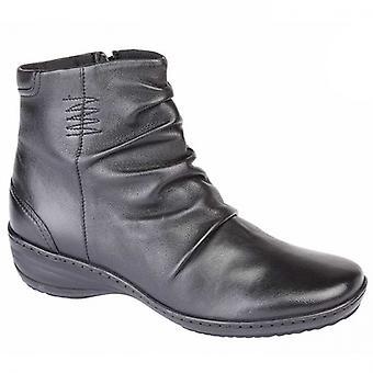 Mod Comfys Portia Ladies Leather Ankle Boots Black