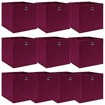 vidaXL säilytyslaatikot 10 kpl. tummanpunainen 32×32×32 cm kangas