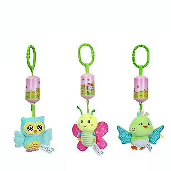 3pcs Butterfly Bird Owl Rattle Toys With Chime Bb Device Plush Baby Hanging Toys Colorful Rattling Doll For Infant