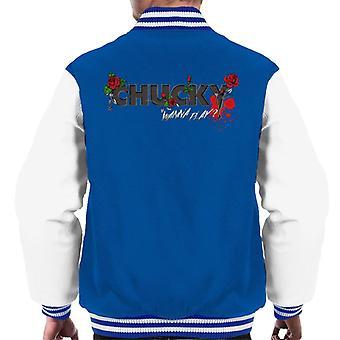 Chucky wanna Play Floral Logo Men's Varsity Jacket