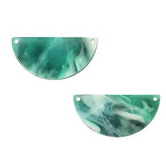 Zola Elements Acetate Connector Link, Halvcirkel 30x15mm, 2 stycken, Smaragd marmorerad