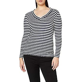 ONLY Carmakoma Carvinni SS Top V Neck T-Shirt, White (Cloud Dancer Stripes: Blue/Cloud Dancer), Medium (Size Producer: 5714500992967