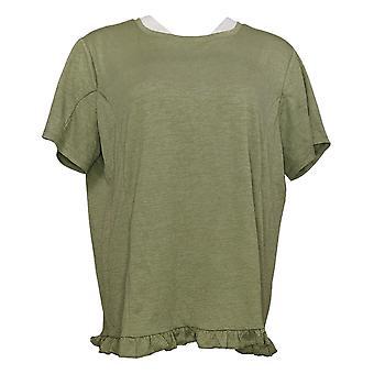 أي شخص المرأة الأعلى كرينكل Knit تي شيرت مع كشكشة هيم الأخضر A353784