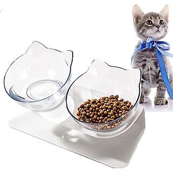 Doppelter Futternapf,  Futternäpfe Katzenfutter Fressnäpfe für Katzen 15 °Geneigt Doppelt Futternapf